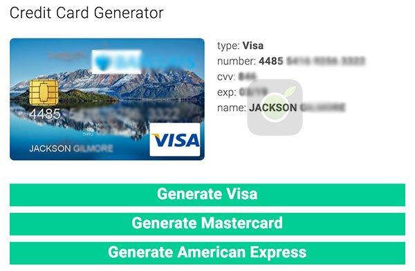 Generatore di carte di credito