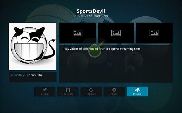 Installa SportsDevil