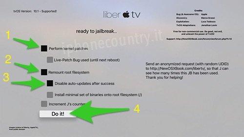 liberTV e le opzioni da selezionare