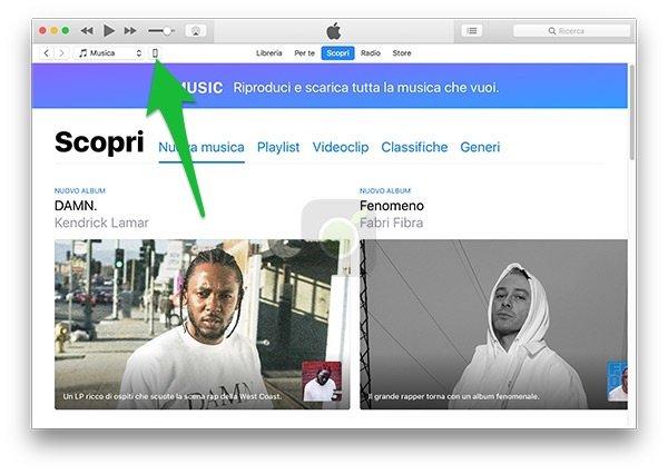 Accedere alla schermata iPhone da iTunes