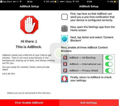 Configurazione di AdBlock su iOS