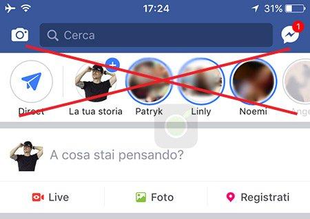 Barra Storie di Facebook