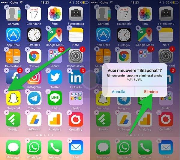 Cancellare un app su iOS