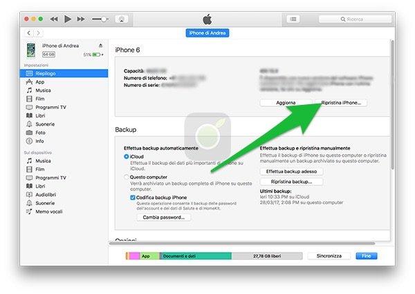 inizializzazione da iTunes