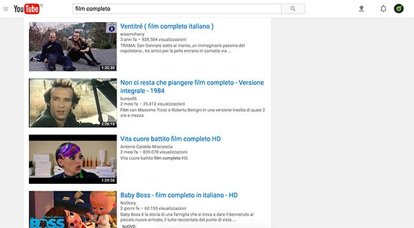 Film completo su YouTube