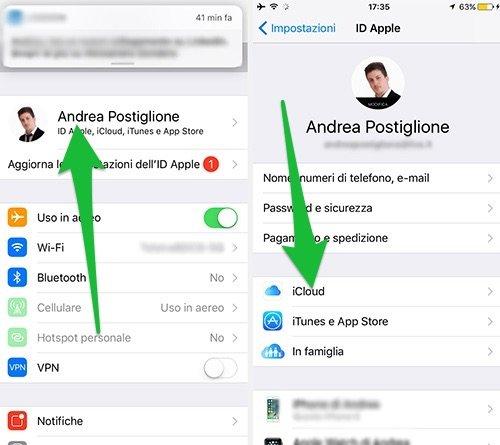 Impostazioni di iCloud su iOS