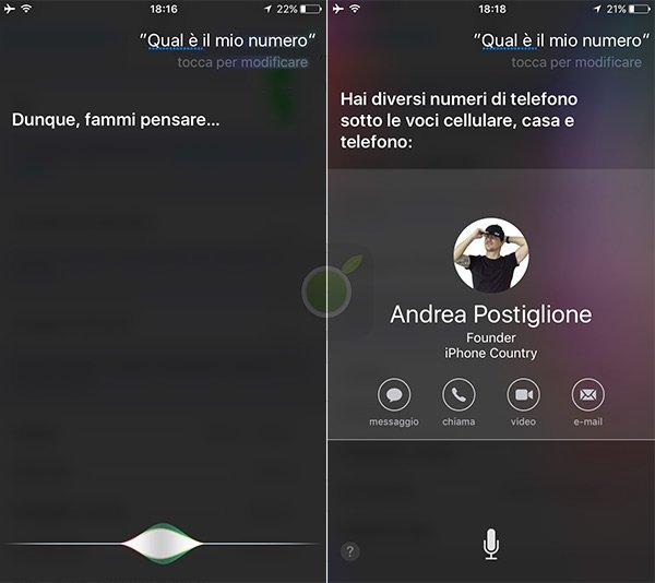 Informazioni personali da Siri