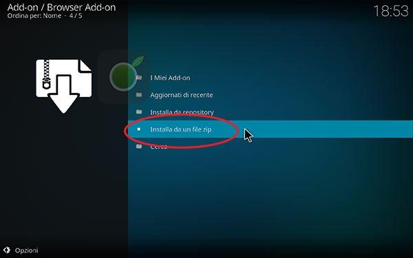 Installa addon da file su Kodi