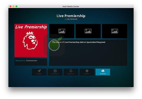 Installa Live Premiership su Kodi
