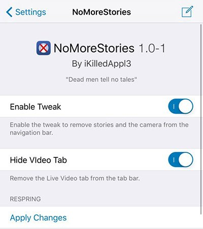 NoMoreStories Tweak