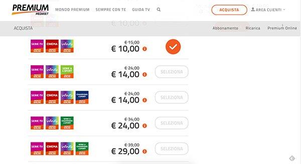 Pacchetti di Premium Online