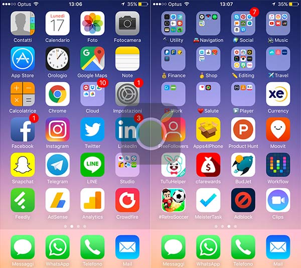 Schermata Home di iOS