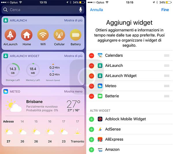 Schermata Widget di iOS