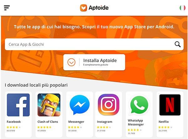 Homepage di Aptoide