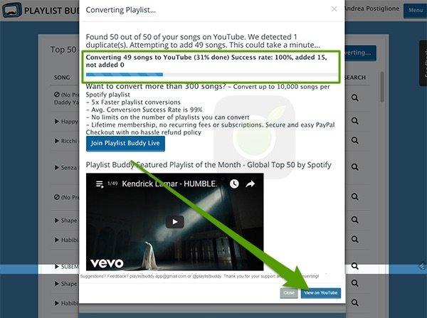 Creazione della playlist YouTube su Buddy