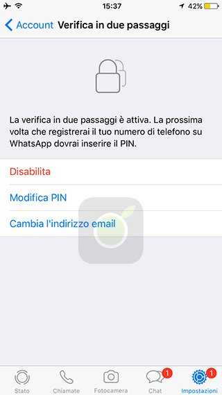 Disabilita la verifica in due passaggi su WhatsApp