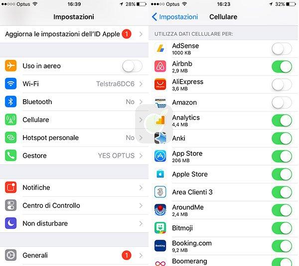 Disattiva dati cellulare delle app