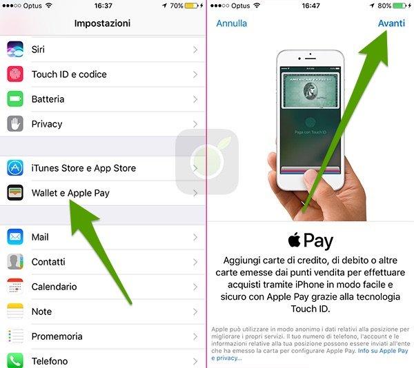 Impostazioni di Apple Pay