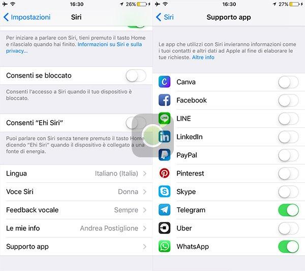 Supporto App per Siri