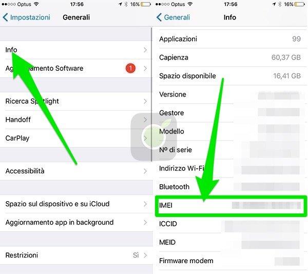 Trovare IMEI su iPhone