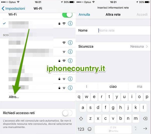WiFi e Altro su iOS
