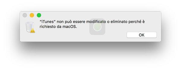Avviso di eliminazione iTunes