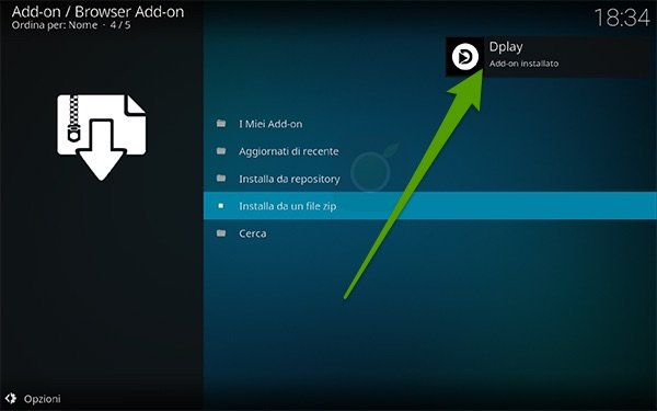 Notifica di DPlay su Kodi