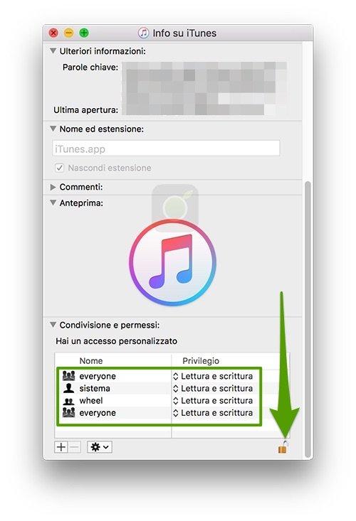 Nuovi permessi di iTunes