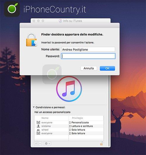 Sbloccare permessi di iTunes su Mac