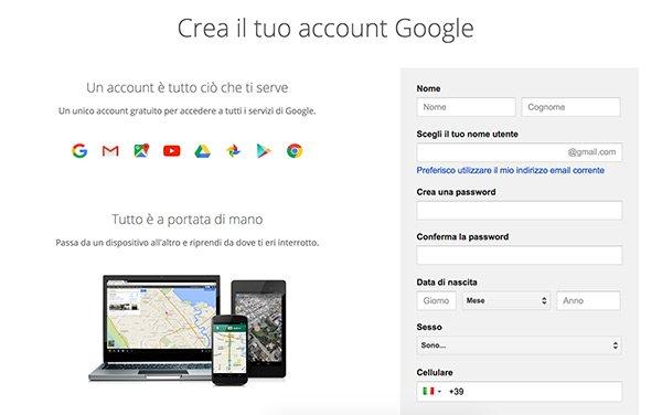 Crea nuovo account Google