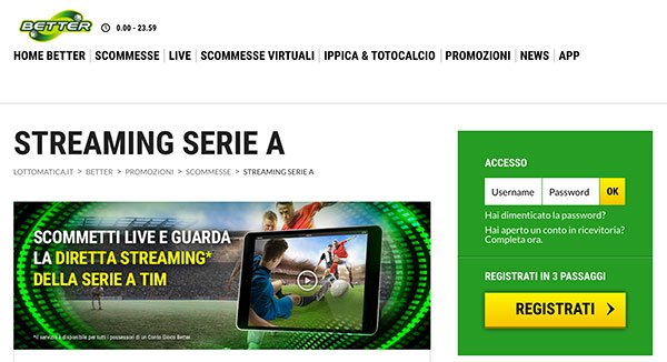 Better per calcio in streaming
