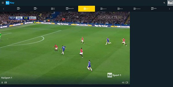 RaiPlay per calcio in streaming
