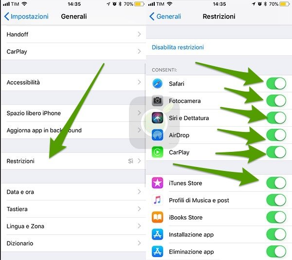 Restrizioni iOS
