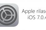 iOS 7.0.4 per iPhone, iPod touch e iPad